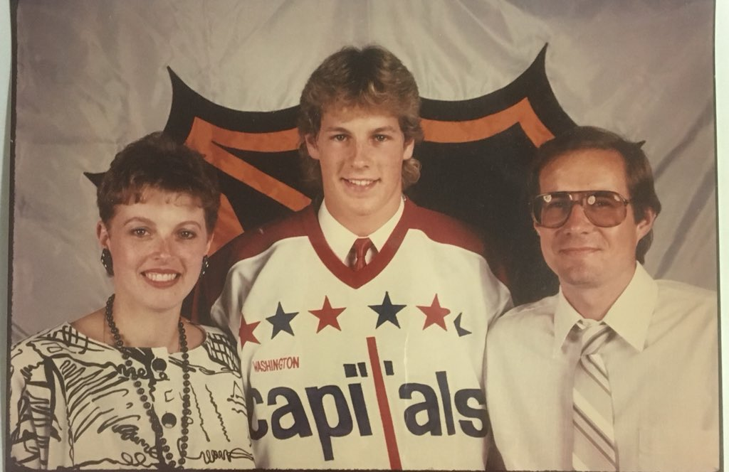 Steve Seftel at the NHL Draft in 1986 with his parents in the Montreal Forum after being drafted by the Washington Capitals