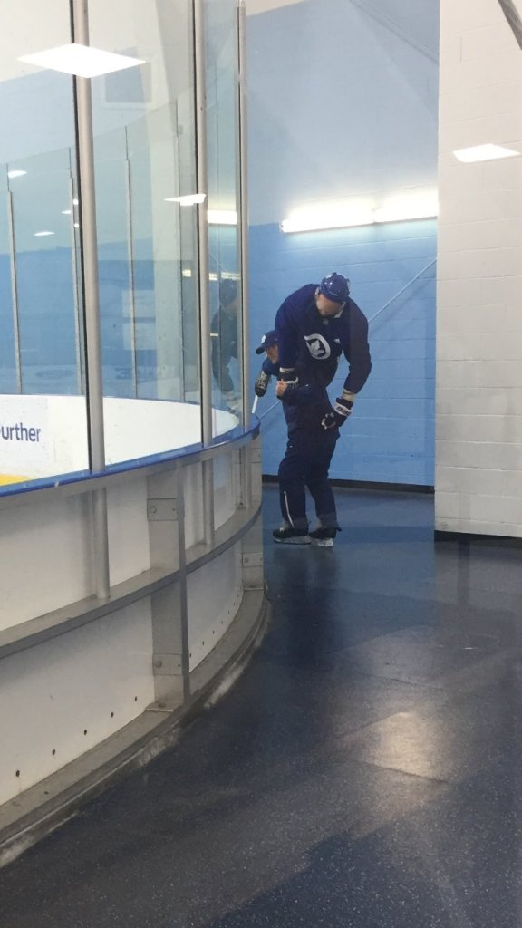 Goaltender Coach Steve Briere mistakenly removes mannequin from ice instead of Marincin